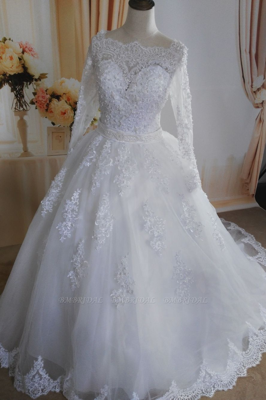 BMbridal Gorgeous Tulle Lace White Wedding Dress Long Sleeves Appliques Bridal Gowns with Pearls