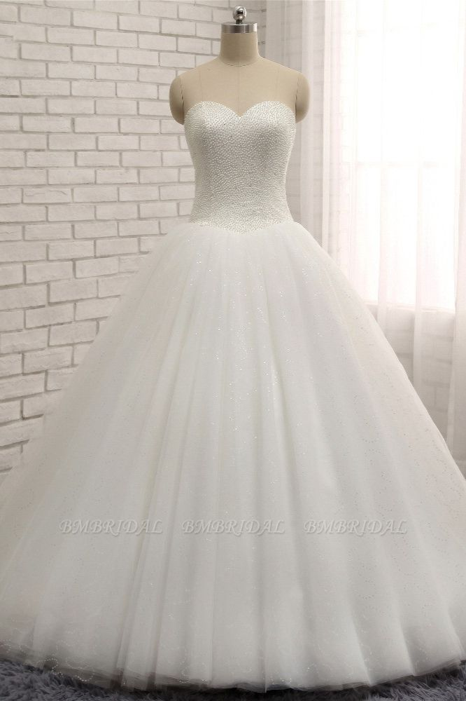 BMbridal Chic Sweetheart Pearls White Wedding Dresses A-line Tulle Ruffles Bridal Gowns Online