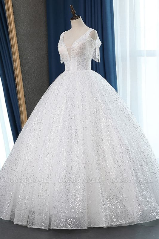 Sparkly Sequins White Tulle Ball Gown Wedding Dress Cold-Shoulder V-Neck Bridal Gowns with Tassels On Sale