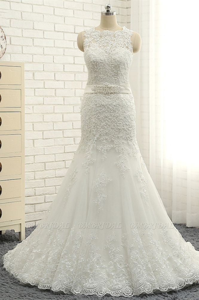 BMbridal Stylish Jewel Sleeveless Mermaid Wedding Dresses White Lace Bridal Gowns With Appliques On Sale