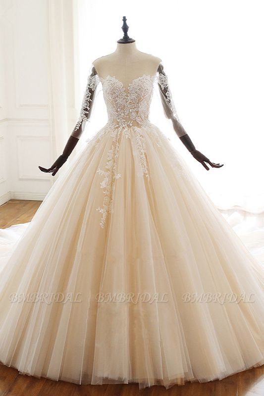 Chic V-Neck Strapless Champagne Tulle Wedding Dress Long Sleeves Appliques Bridal Gowns Online