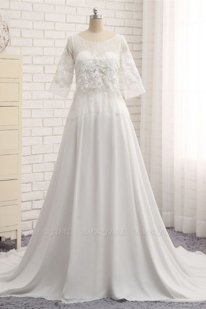 Modest Halfsleeves White Jewel Wedding Dresses Chiffon Lace Bridal Gowns With Appliques On Sale