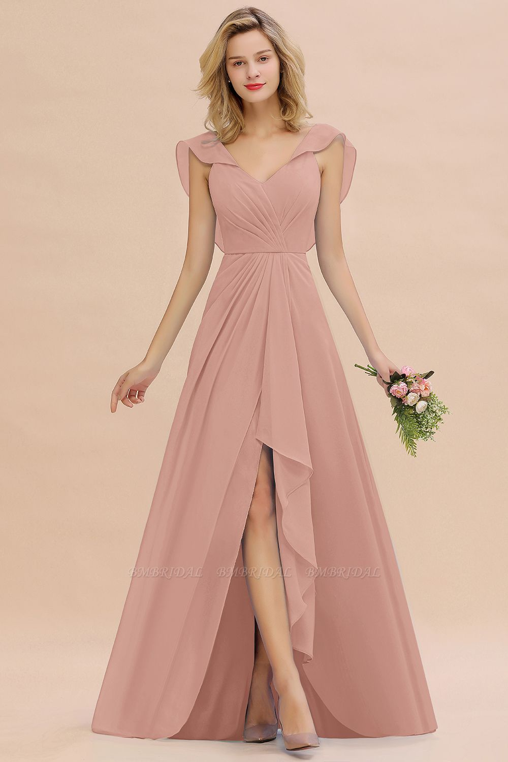 BMbridal Modest Hi-Lo V-Neck Ruffle Long Bridesmaid Dress with Slit