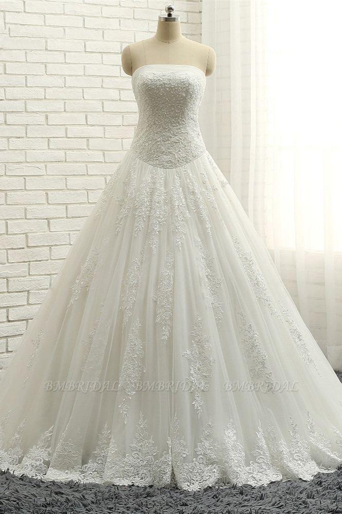 BMbridal Gorgeous Bateau White Tulle Wedding Dresses A line Ruffles Lace Bridal Gowns With Appliques Online