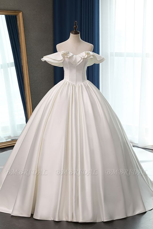 BMbridal Stylish Strapless Sweetheart Satin Wedding Dress Ruffles Sleeveless Ball Gowns Bridal Gowns On Sale