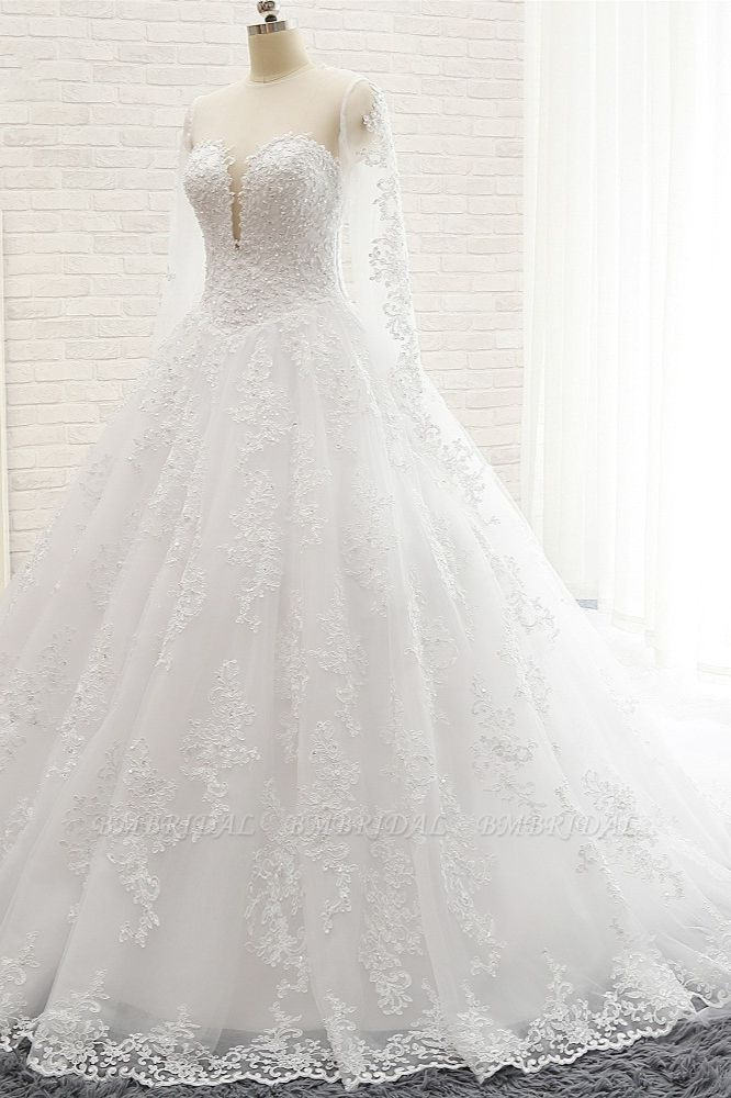 BMbridal Stylish Longsleeves A line Lace Wedding Dresses Tulle Ruffles Bridal Gowns With Appliques Online