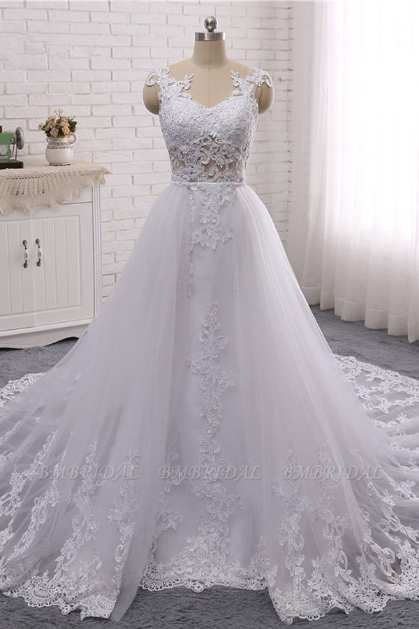 BMbridal Stylish Jewel Mermaid Lace Appliques Wedding Dress White Sleeveless Beadings Bridal Gowns with Overskirt On Sale