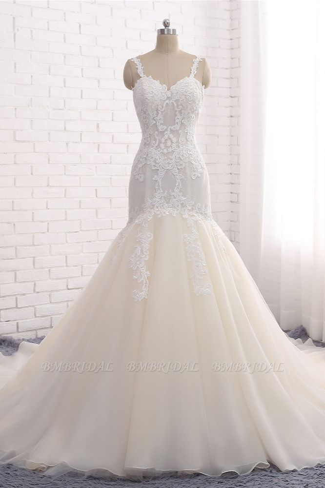 Affordable Strapless Mermaid Tulle Lace Wedding Dress Sweetheart Appliques Bridal Gowns On Sale