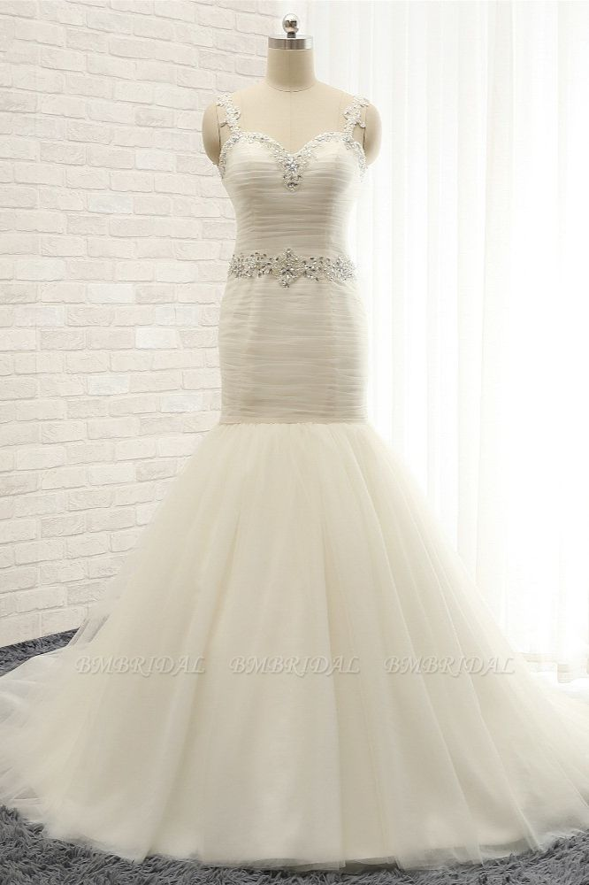 Unique Ivory Straps Mermaid Wedding Dresses Tulle Ruffles Sequins Bridal Gowns Online
