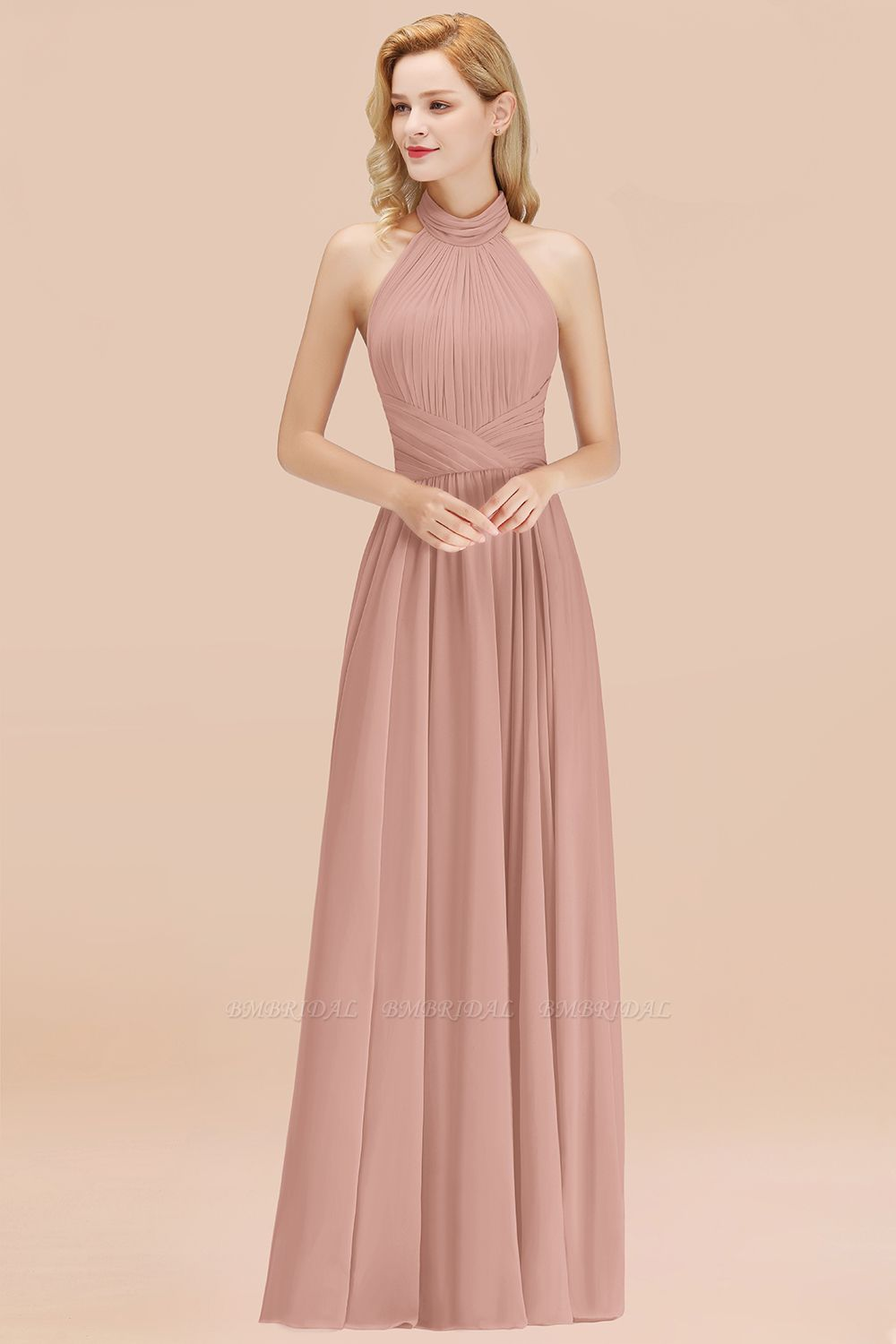 Gorgeous High-Neck Halter Backless Bridesmaid Dress Dusty Rose Chiffon Maid of Honor Dress
