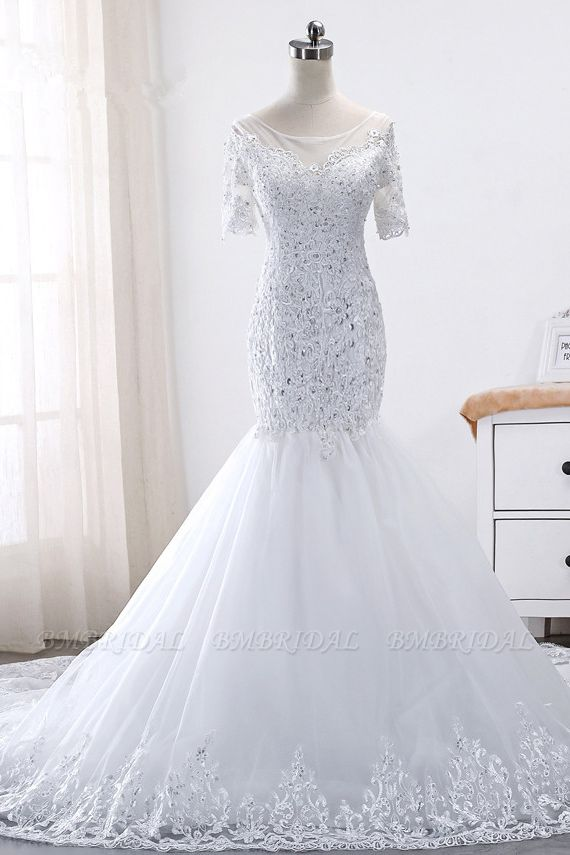 BMbridal Glamorous Jewel Tulle Lace Wedding Dress Mermaid Short Sleeves Beading Bridal Gowns Online