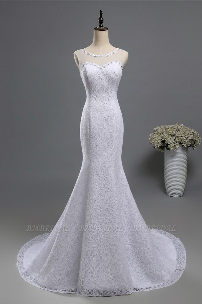 BMbridal Gorgeous Jewel Lace Mermaid Wedding Dress Sleeveless Appliques Bridal Gowns with Rhinestones