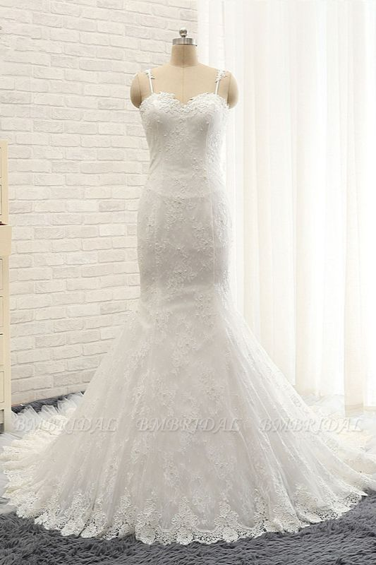 BMbridal Sexy Spaghetti Straps Sleeveless Wedding Dresses With Appliques White Mermaid Lace Bridal Gowns Online