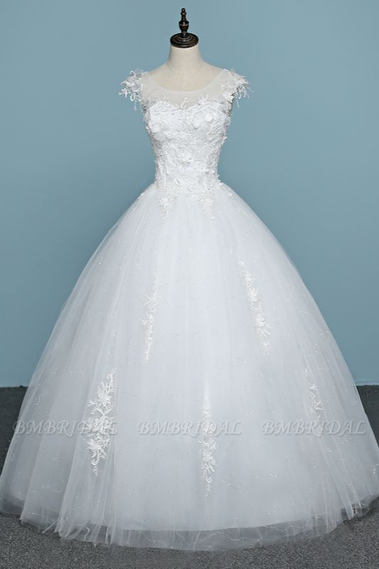 BMbridal Chic Jewel Tulle Lace White Wedding Dress Sleeveless Appliques Bridal Gowns with Flowers Online