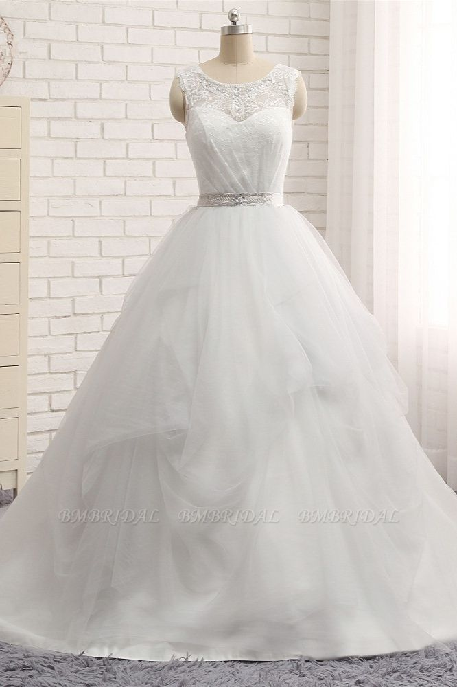 BMbridal Affordable White Sleeveless Tulle Wedding Dresses With Appliques A-line Jewel Bridal Gowns Online