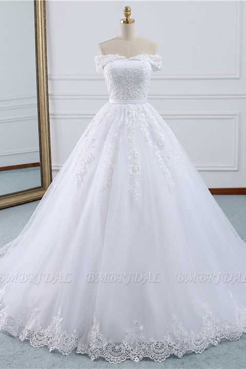 BMbridal Affordable White Off-the-shoulder Lace Wedding Dresses With Appliques Tulle Ruffles Bridal Gowns On Sale