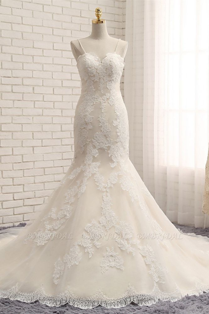 Sexy Spaghetti Straps Mermaid Wedding Dresses Sleeveless Lace Bridal Gowns With Appliques Online