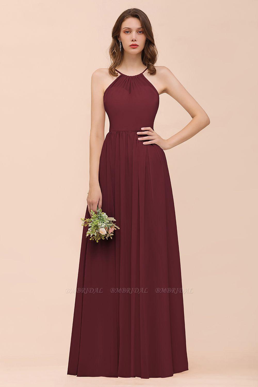 BMbridal Gorgeous Chiffon Halter Ruffle Affordable Long Bridesmaid Dress