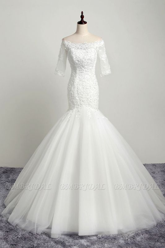 BMbridal Gorgeous Off-the-Shoulder Tulle Lace Wedding Dress Mermaid Half Sleeves Appliques Beadings Bridal Gowns On Sale