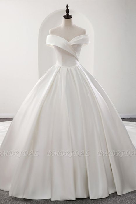 BMbridal Glamorous White Satin Ruffles Wedding Dresses Off-the-shoulder A-line Bridal Gowns Online