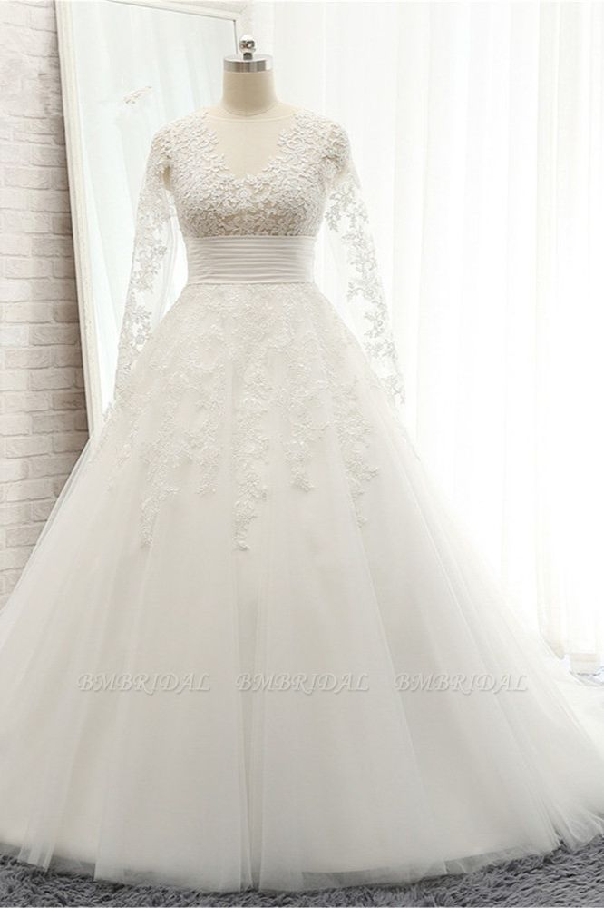 BMbridal Chic Longsleeves Jewel A line Wedding Dresses White A line Tulle Bridal Gowns With Appliques Online