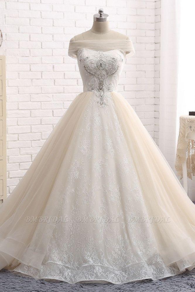 BMbridal Unique Champagne Bateau Lace Wedding Dresses With Appliques Tulle Ruffles Bridal Gowns Online