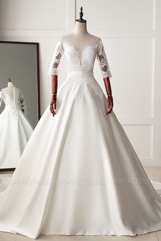 Stunning Jewel Satin Tulle White Wedding Dress Half Sleeves Appliques Bridal Gowns Online
