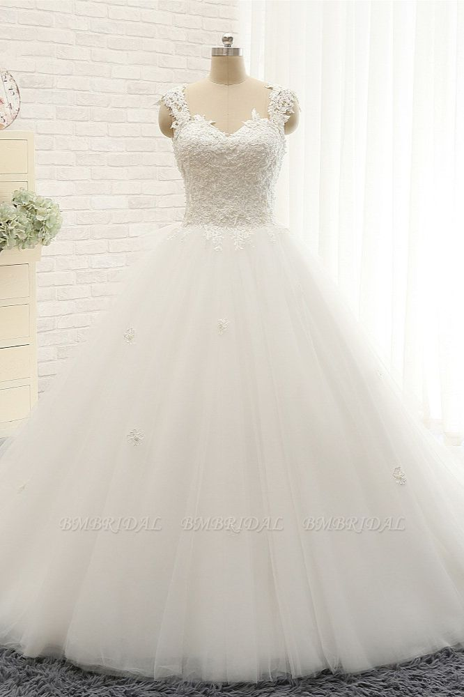 Chic Straps Sleeveless Tulle Wedding Dresses With Appliques White A-line Bridal Gowns Online