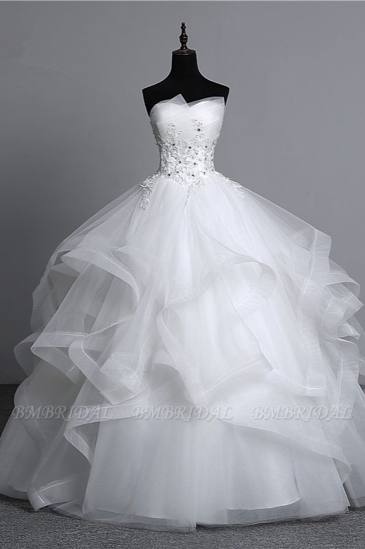 Gorgeous Strapless Tulle Layers Wedding Dress Appliques Beadings Bridal Gowns Online