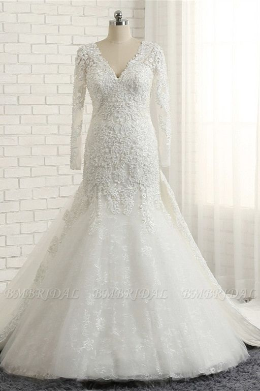 Unique Mermaid Longsleeves V-neck Wedding Dresses White Lace Bridal Gowns With Appliques On Sale