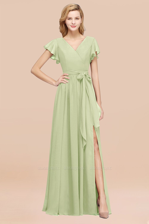 Burgundy V-Neck Long Bridesmaid Dress With Short-Sleeves