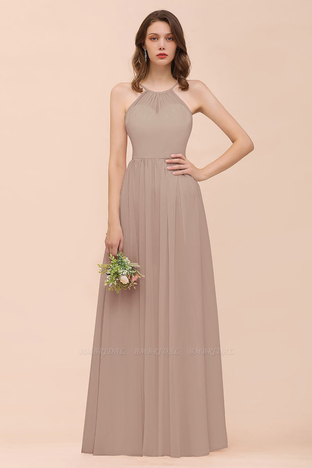 BMbridal Gorgeous Chiffon Halter Ruffle Affordable Long Bridesmaid Dress