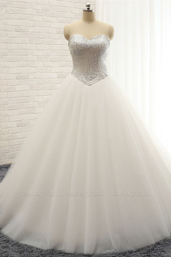BMbridal Stylish Sweatheart White Sequins Wedding Dresses A line Tulle Bridal Gowns On Sale