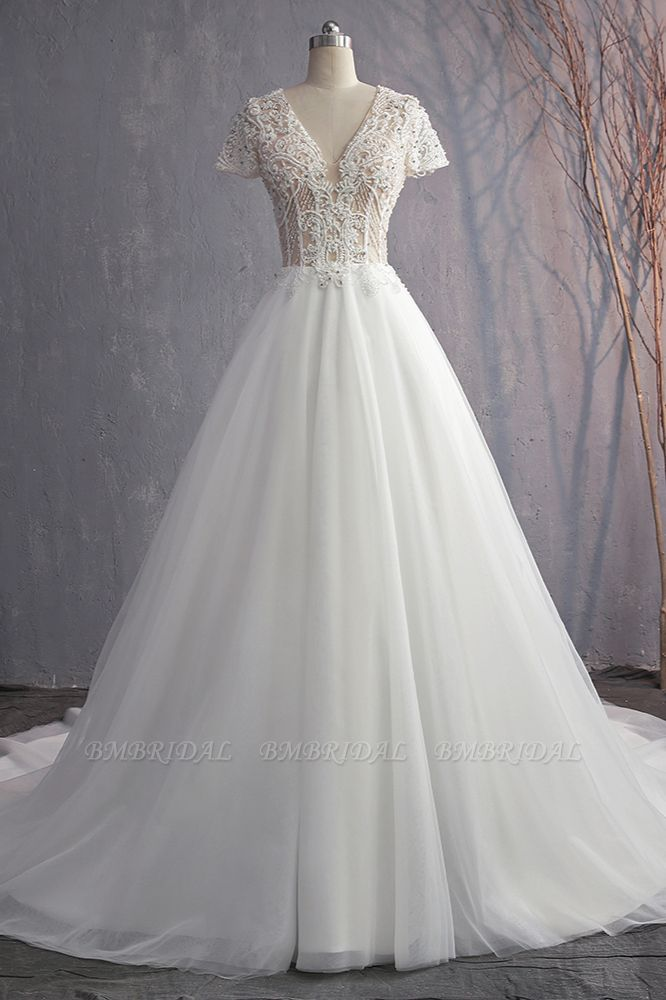 BMbridal Affordable V-Neck White Tulle Wedding Dress Short Sleeves Lace Appliques Bridal Gowns with Beadings