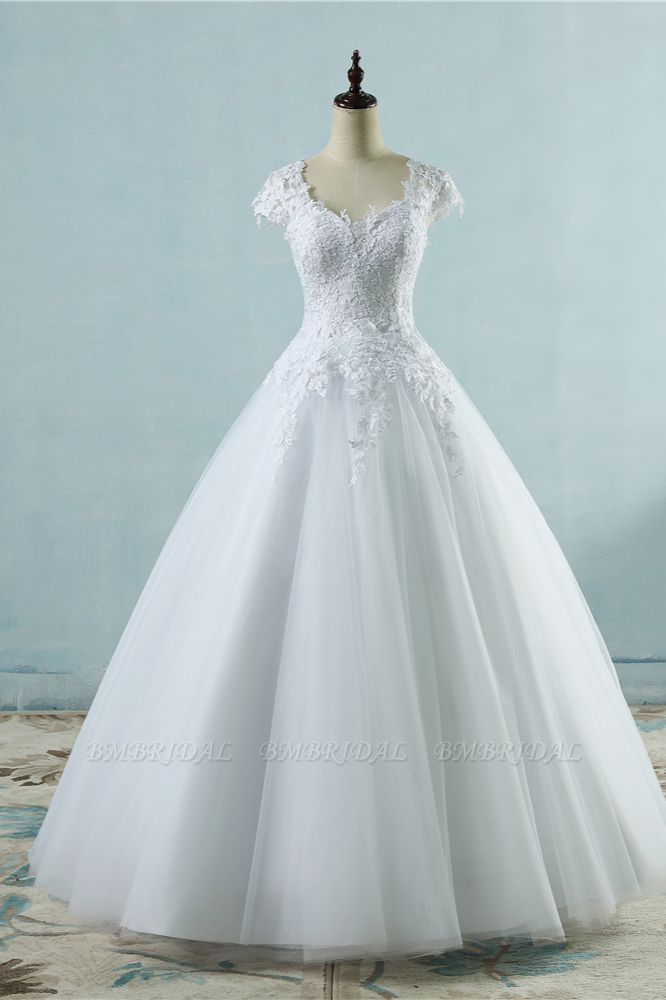 Elegant V-Neck Tull Lace White Wedding Dress Short Sleeves Appliques Bridal Gowns Online