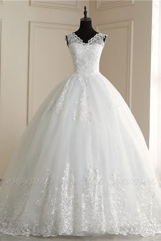 BMbridal Elegant V-Neck Tull Lace White Wedding Dress Sleeveless Appliques Bridal Gowns On Sale