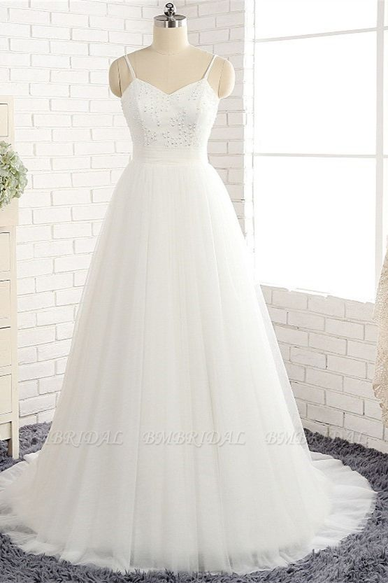 Affordable Spaghetti Straps White Wedding Dresses A-line Tulle Ruffles Bridal Gowns On Sale