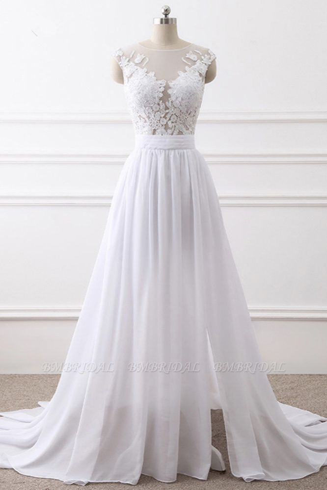 Elegant Jewel Chiffon Lace White Wedding Dress A-Line Sleeveless Appliques Bridal Gowns with Slit On Sale