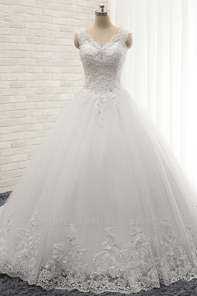 Chic Straps V-Neck Tulle Lace Wedding Dress Sleeveless Appliques Beadings Bridal Gowns On Sale