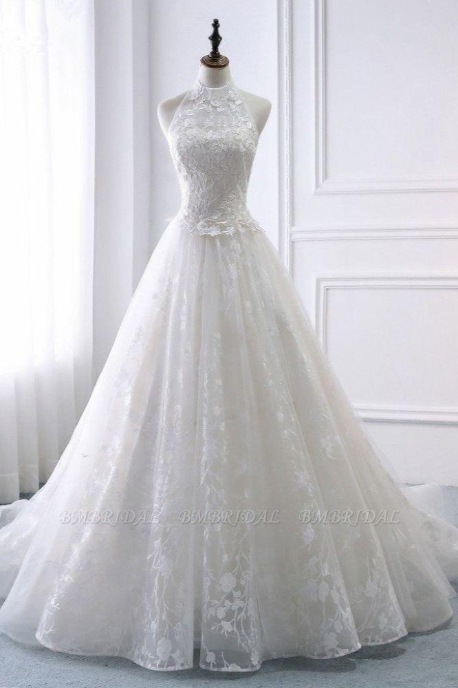 BMbridal Elegant A-Line Halter Tulle White Wedding Dress Sleeveless Appliques Bridal Gowns On Sale