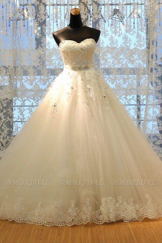 BMbridal Glamorous Strapless Sleevelsss Tulle Wedding Dress Sweetheart Appliques Bridal Gowns with Rhinestones On Sale