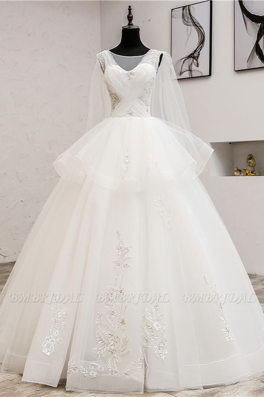 Gorgeous Jewel Sleeveless White Wedding Dress Tulle Appliques Bridal Gowns Online