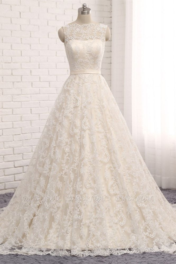 Chic Champagne Jewel Sleeveless Wedding Dresses A-line Lace Bridal Gowns With Appliques On Sale