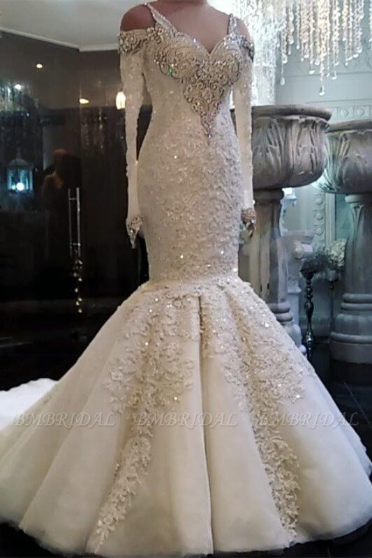 Unique Straps Longsleeves Mermaid Wedding Dresses White Sequins Lace Bridal Gowns With Appliques Online