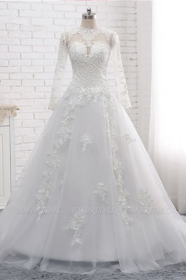Modest Jewel White Tulle Lace Wedding Dress Long Sleeves Appliques A-Line Bridal Gowns On Sale