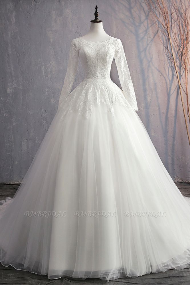 BMbridal Glamorous Jewel White Tulle Lace Wedding Dress Long Sleeves Appliques Bridal Gowns On Sale