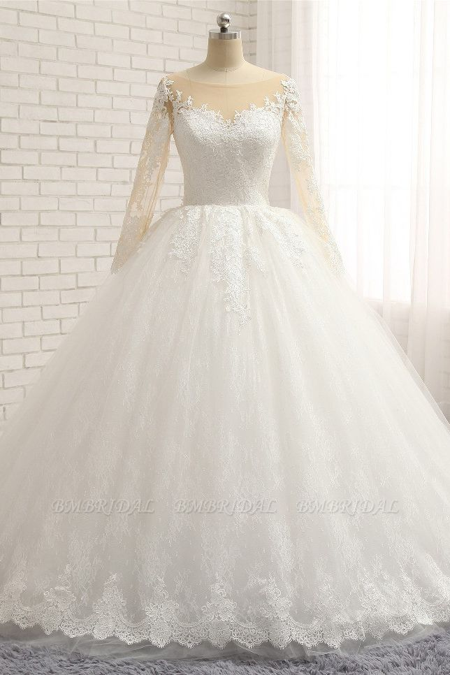 BMbridal Affordable White Tulle Ruffles Wedding Dresses Jewel Longsleeves Lace Bridal Gowns With Appliques Online