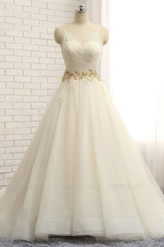 Gorgeous Jewel Sleeveless A-Line Tulle Wedding Dress Lace Appliques Bridal Gowns with Beadings
