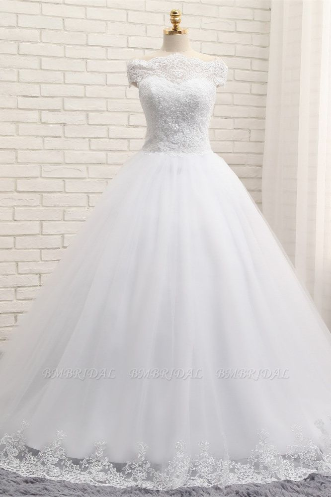 Modest Bateau Tulle Ruffles Wedding Dresses With Appliques A-line White Lace Bridal Gowns On Sale
