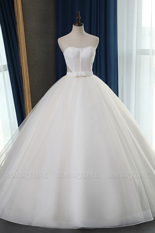 Sexy Strapless Sweetheart Wedding Dress Ball Gown Sleeveless White Tulle Bridal Gowns On Sale